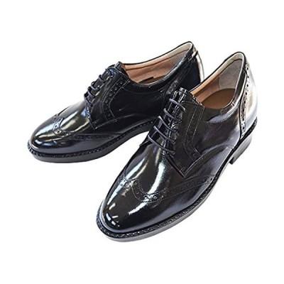 [北嶋製靴工業所] シークレットシューズ ビジネス 7cmアップ ウイングチップ 国産 カンガルー革 外羽根 (ブラック 23.5 cm)