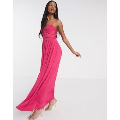 エイソス ASOS DESIGN レディース ワンピース キャミワンピ ワンピース・ドレス Premium cami pleated maxi dress with ladder trim detail in pink ピンク