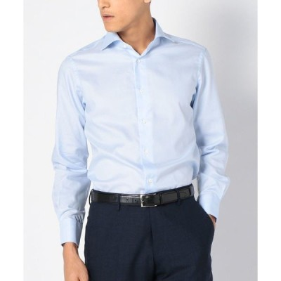 シャツ ブラウス SD: 【テレワーク対応可能】ALBINI社製生地ファインフィット ソリッド ホリゾンタルカラー シャツ(ライトブルー)