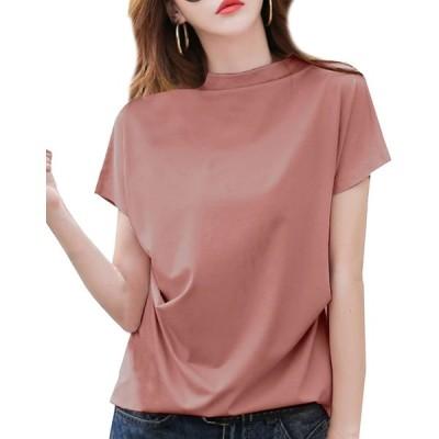 [ジョプリンアンドコー] サイド絞りデザイン 袖短め ファネルネックカットソー さらさら 夏物 トップス Tシャツ tシャツ レディーストップス レデ