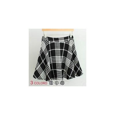 【大きいサイズ有】全3色/ウール混チェック柄Aラインスカート