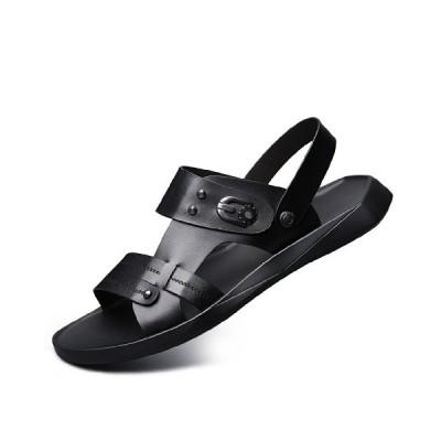 スリッパサンダル 2way メンズ レザー 夏 黒 オフィスサンダル 通気 ノンスリップ カジュアル ソフト 耐摩耗性  軽量 歩きやすい 個性 ブラック 黒