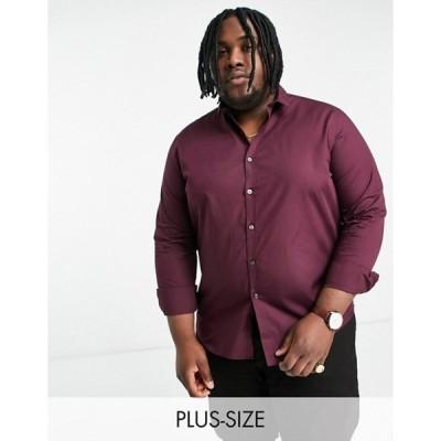 ニュールック メンズ シャツ トップス New Look Plus & Tall long sleeve poplin shirt in burgundy
