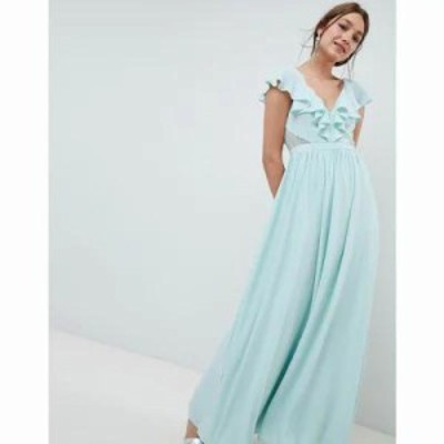 エイソス ワンピース DESIGN Frill Wrap Lace Insert Maxi Dress Mint