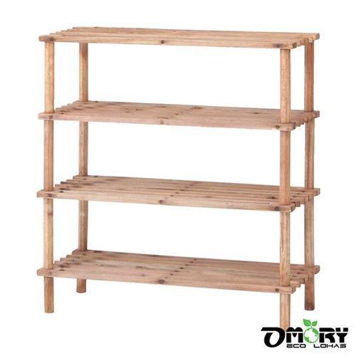 OMORY 天然松木四層置物架 松木置物架 松木鞋架 無印風DIY 層架 手作工具架