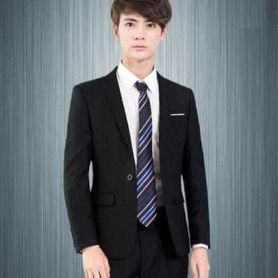 西裝外套 兩件套套裝-韓版商務修身休閒男西服4色72ag1【獨家進口】【米蘭精品】