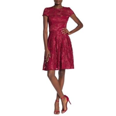 マリーナ レディース ワンピース トップス Lace Cap Sleeve Fit & Flare Dress RED