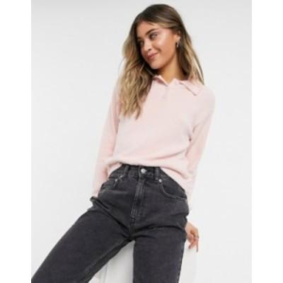 エイソス レディース ニット・セーター アウター ASOS DESIGN polo sweater in pink fluffy yarn Pink