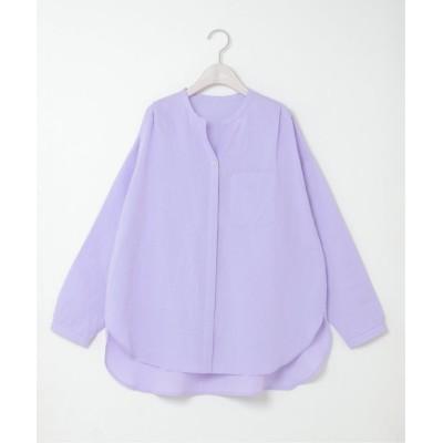 【エルビーシー】 リネンコットンバンドカラーシャツ レディース パープル M LBC