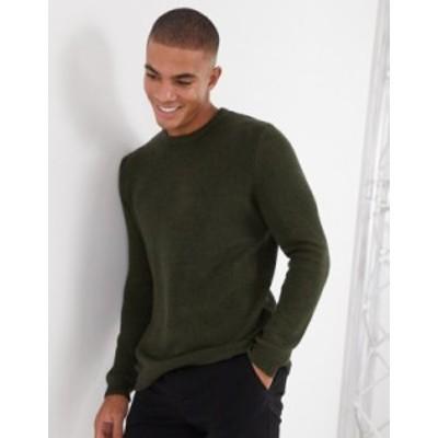 エイソス メンズ ニット・セーター アウター ASOS DESIGN midweight cotton crew neck sweater in khaki twist Khaki twist