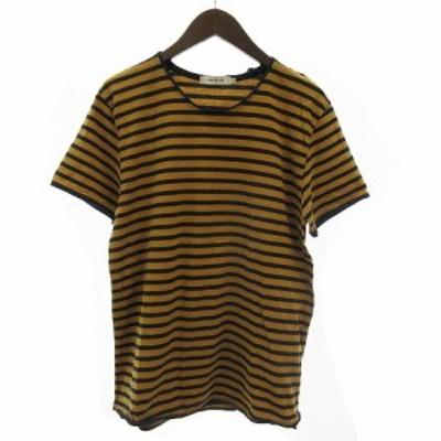 【中古】nonnative MASTER TEE S/S JERSEY BORDER Tシャツ 半袖 ラウンドネック コットン ボーダー 茶系 紺 1
