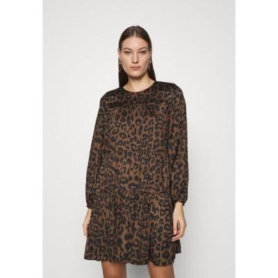 バナナ リバブリック ワンピース レディース トップス TIE NECK SHIFT PRINT - Day dress - brown