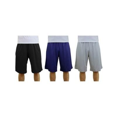 ギャラクシーバイハルビック カジュアルパンツ ボトムス メンズ Men's 3-Pack Moisture-Wicking Active Mesh Shorts Black/Navy/Silver-Tone