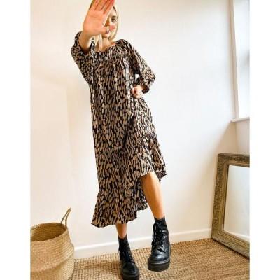 セレクティッド レディース ワンピース トップス Selected Femme midi smock dress in sand and black brush stroke print Brushstroke print
