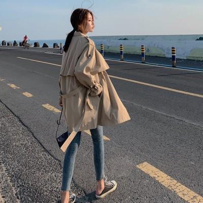 スプリングコート トレンチコート レディース ロングコート アウター 女性 韓国風 ジャケット OL 通勤 オシャレ 秋 ゆったり ウインドブレーカー