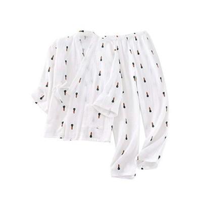 Aculldo レディース パジャマ 二重 ガーゼ 和風 ねまき 前開き 甚平 ルームウェア 浴衣 女性 寝間着 2点セット 寝巻き 部屋着 七分袖