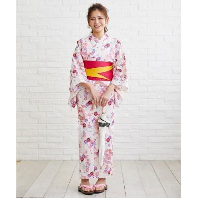 レディース浴衣3点セット(浴衣+作り帯+下駄) 【レディース浴衣】, Yukata