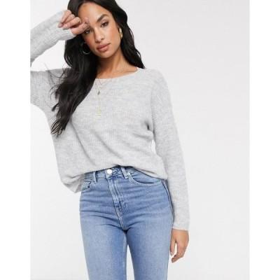 ヴィラ レディース ニット&セーター アウター Vila oversized sweater with lace back detail Gray