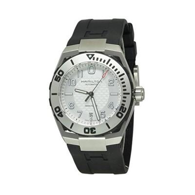 Hamilton H78615355 Men's Khaki Navy Automatic Black Rubber Silver-Tone Dial Watch【並行輸入品】