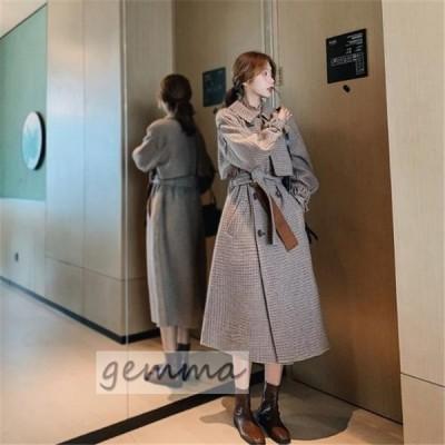 ラシャ  チェスターコート アウター コート  トレンチコート 女性用 コート 格子縞 チェック ルーズ  レディース ロングコート 大きいサイズ 秋冬