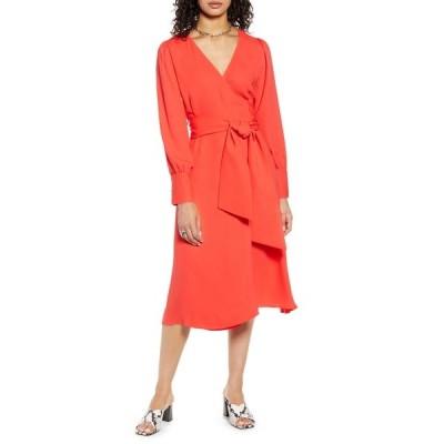 ハロゲン レディース ワンピース トップス Long Sleeve Wrap Midi Dress RED BITTERSWEET