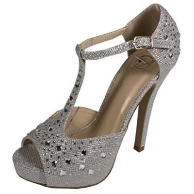 デリシャス レディース パンプス Lustacious Women's Peep Toe T-strap Rhinestone Diamond High Heel D'Orsay Pumps