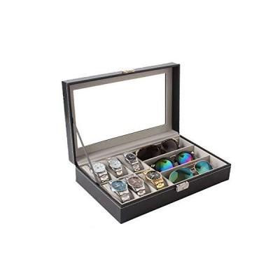 [RADISSY] メガネ サングラス 腕時計 収納 ケース 大容量 ボックス おしゃれ 大きめ (時計6本+メガネ3本用, ブラック)