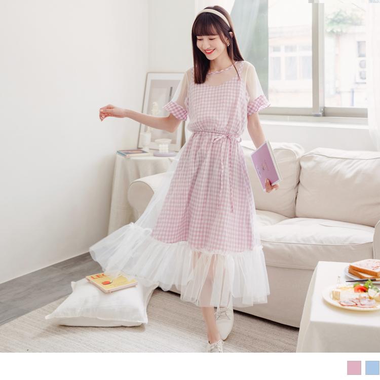 甜美格紋假兩件拼接透膚網紗洋裝