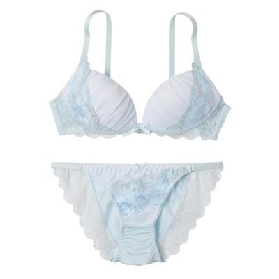 ロマンティックシアーフルール ノンワイヤーブラジャー・ショーツセット(LL) (ブラジャー&ショーツセット)Bras & Panties