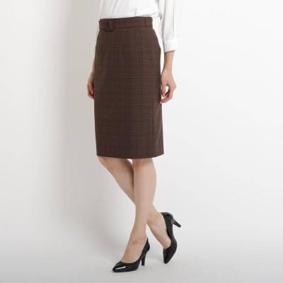 COUP DE CHANCE(クードシャンス)/【洗える】グレンチェックベルト付きスカート
