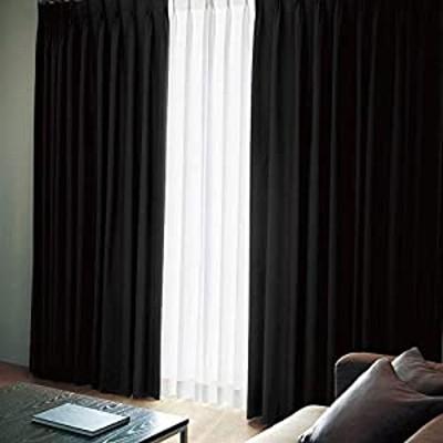 窓美人 エール 遮光性カーテン&UVカットミラーレース ピュアブラック(カーテン2枚/レース2枚) 幅100×丈200(198)cm 各2枚 カーテンフック付 洗える 省エネ