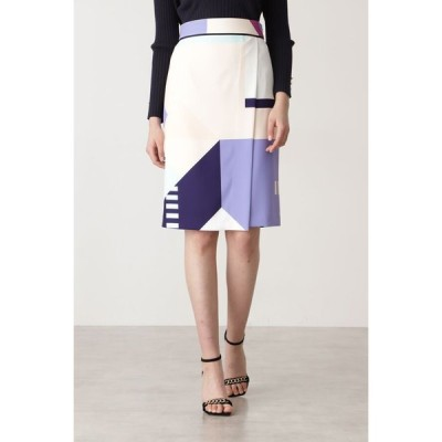 PINKY&DIANNE カラーブロックプリントスカート