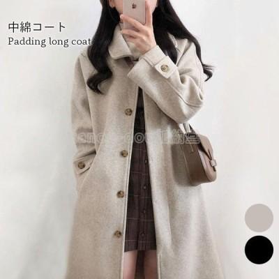 【】中綿キルティングコート レディース ロングコート チェスターコート 中綿キルティング ロング丈 ポケット付き 厚手 あったか 暖かい
