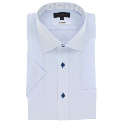 【タカキュー】 形態安定抗菌防臭スリムフィット ワイドカラー半袖シャツ メンズ サックス 3L(2XL) TAKA-Q
