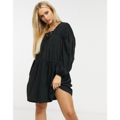 エイソス ASOS DESIGN レディース ワンピース ティアードドレス ワンピース・ドレス Extreme Tiered Smock Dress In Black ブラック