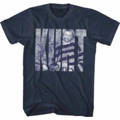 ファッション トップス Nirvana-Kurt Cobain-Photo In Logo-X-Large Navy Blue T-shirt