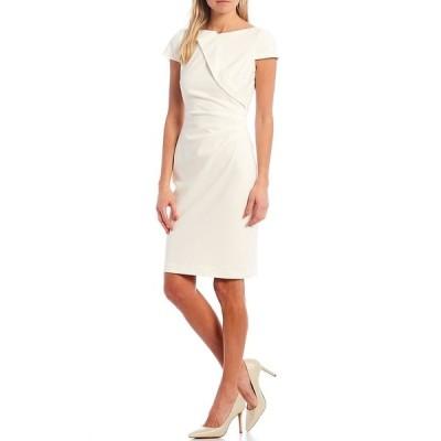 ヴィンスカムート レディース ワンピース トップス Cap Sleeve Shirred Bi-Stretch Sheath Dress Ivory