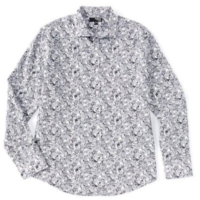 ムラノ メンズ シャツ トップス Liquid Luxury Slim-Fit Cats Print Long-Sleeve Woven Shirt