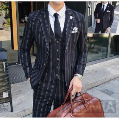 ビジネススーツ 3ピーススーツ スーツセット 3点セットストライプ柄 メンズスーツセット セットアップ 細身 紳士服 結婚式 入学式