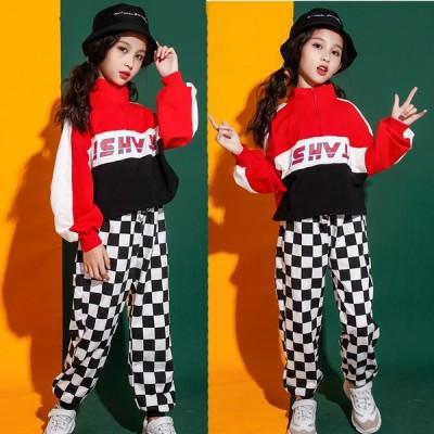 韓国 子供服 キッズ ダンス衣装 ヒップホップ ダンス服 ダンスウェア シャツ 袖あり チェック ロング パンツ HIPHOP おしゃれ KIDS ストリート ファッション