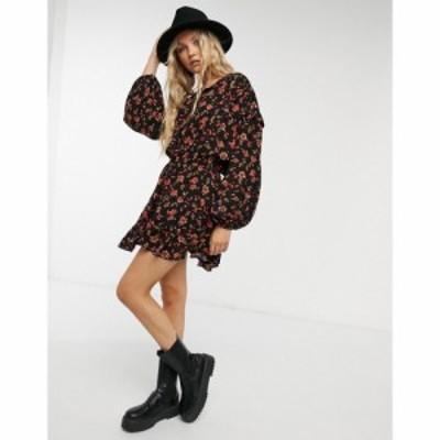 フリーピープル Free People レディース ワンピース ミニ丈 ワンピース・ドレス Flower Fields Mini Dress In Black Mutli ダークコンボ