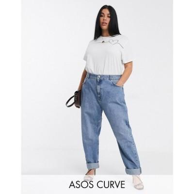 エイソス ASOS Curve レディース ジーンズ・デニム ボトムス・パンツ ASOS DESIGN Curve High rise 'slouchy' mom jeans in mid vintage wash