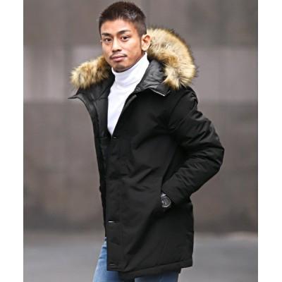 【ラグスタイル】 タスランファー付きコート/中綿ジャケット メンズ コート タスラン ジャケット BITTER ビター系 メンズ ブラック L LUXSTYLE