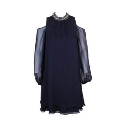 ファッション ドレス Xscape deep navy Blue Beads Choker Collar shoulders discovered