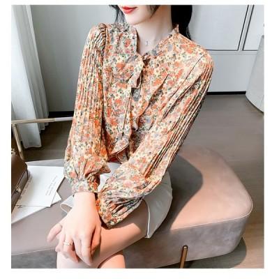 長袖シャツ レースアップ 引き紐 プリント ボリューム袖 大きいサイズ 花柄 リボン付き 蝶結び