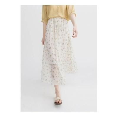 スカート ロングスカート マキシ丈 花柄 小花柄 ホワイト 透け感 可愛い 大人 シンプル ウエストゴム デート 女子会 着やすい 春 夏 涼しげ