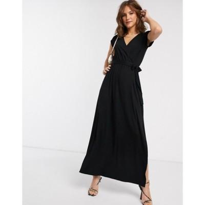 エイソス レディース ワンピース トップス ASOS DESIGN tie waist wrap front maxi dress in black