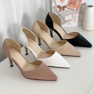 パンプス ポインテッドトゥ ハイヒール ピンヒール レディース 靴 婦人靴 ブラック ホワイト ベージュ ピンク 黒 白 歩きやすい 痛くない