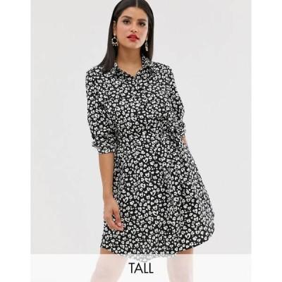 ブレーブソール レディース ワンピース トップス Brave Soul Tall alenia shirt dress in animal print Black/white print