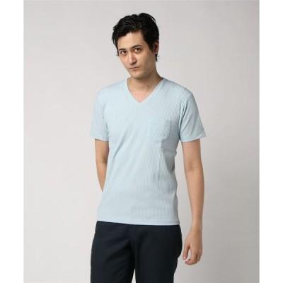 tシャツ Tシャツ 【Contribe】リブ ポケット付き半袖VネックTシャツ